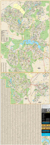 Canberra UBD 259 N/S 2 Sheet Map 710 x 2020mm Laminated Wall Map with Hang Rails