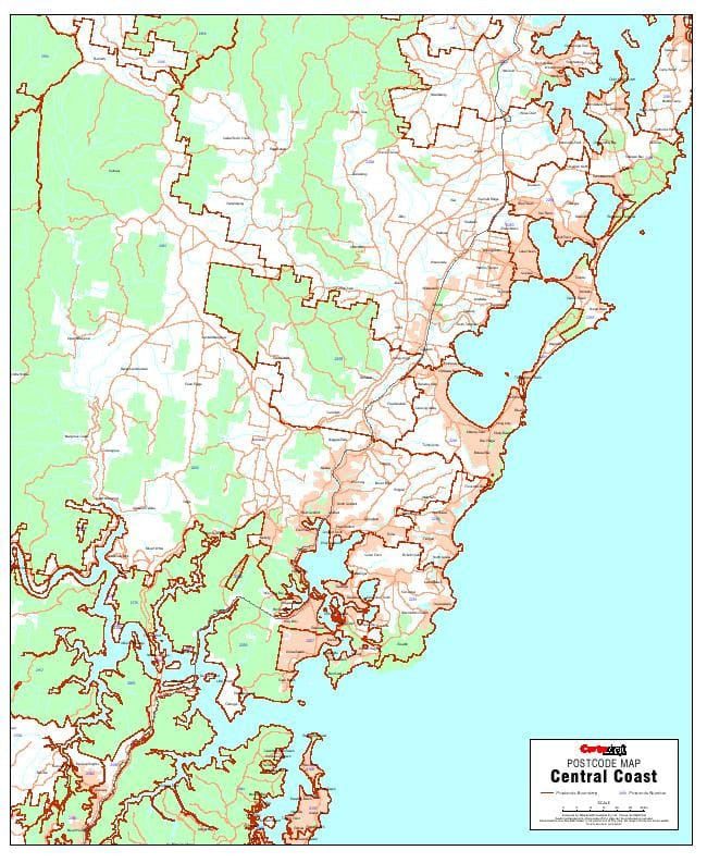 Central Coast Postcode 788 x 956mm Laminated Wall Map