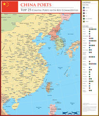 China Ports 2015  900 x 1000mm Laminated Wall Map  - BMA