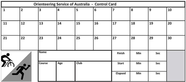 Control Cards - 30 punch squares (pack of 100)