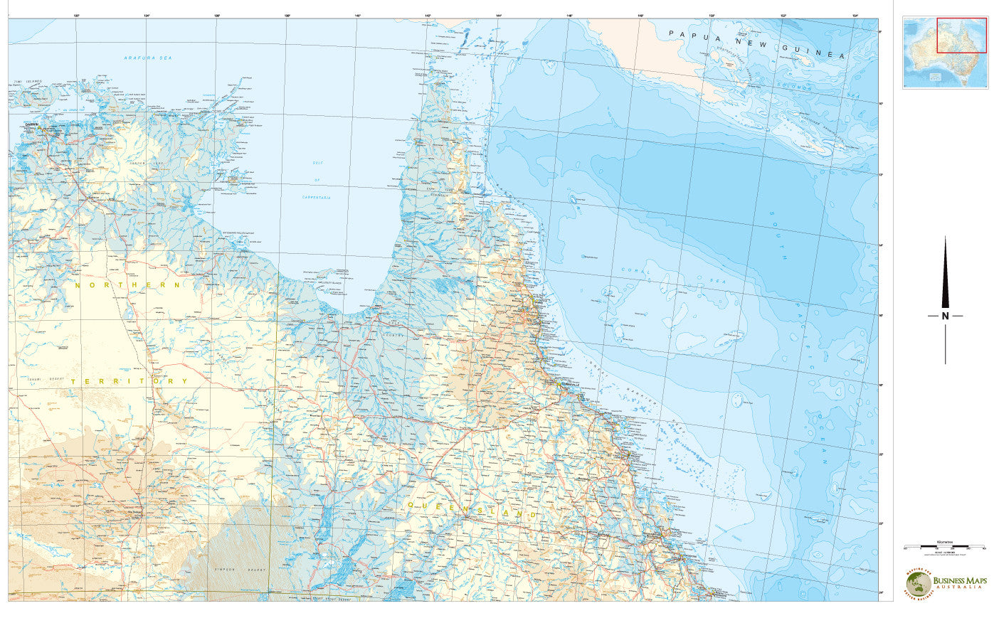 Map Of North East Australia.North East Australia Cyclone Tracking 1150 X 850mm Bma Laminated Wall Map