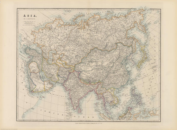 Stanford's Folio Asia Map by J. Arrowsmith published 1884