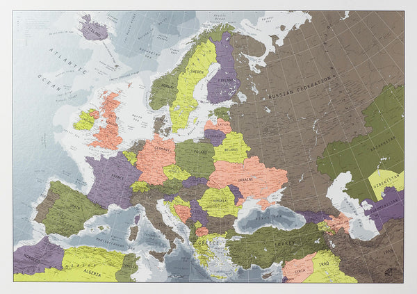 Europe Map (Version 2) 1000 x 700mm Laminated Wall Map
