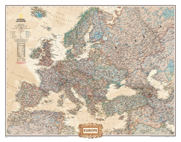 Europe Executive NGS 772 x 605mm Wall Map