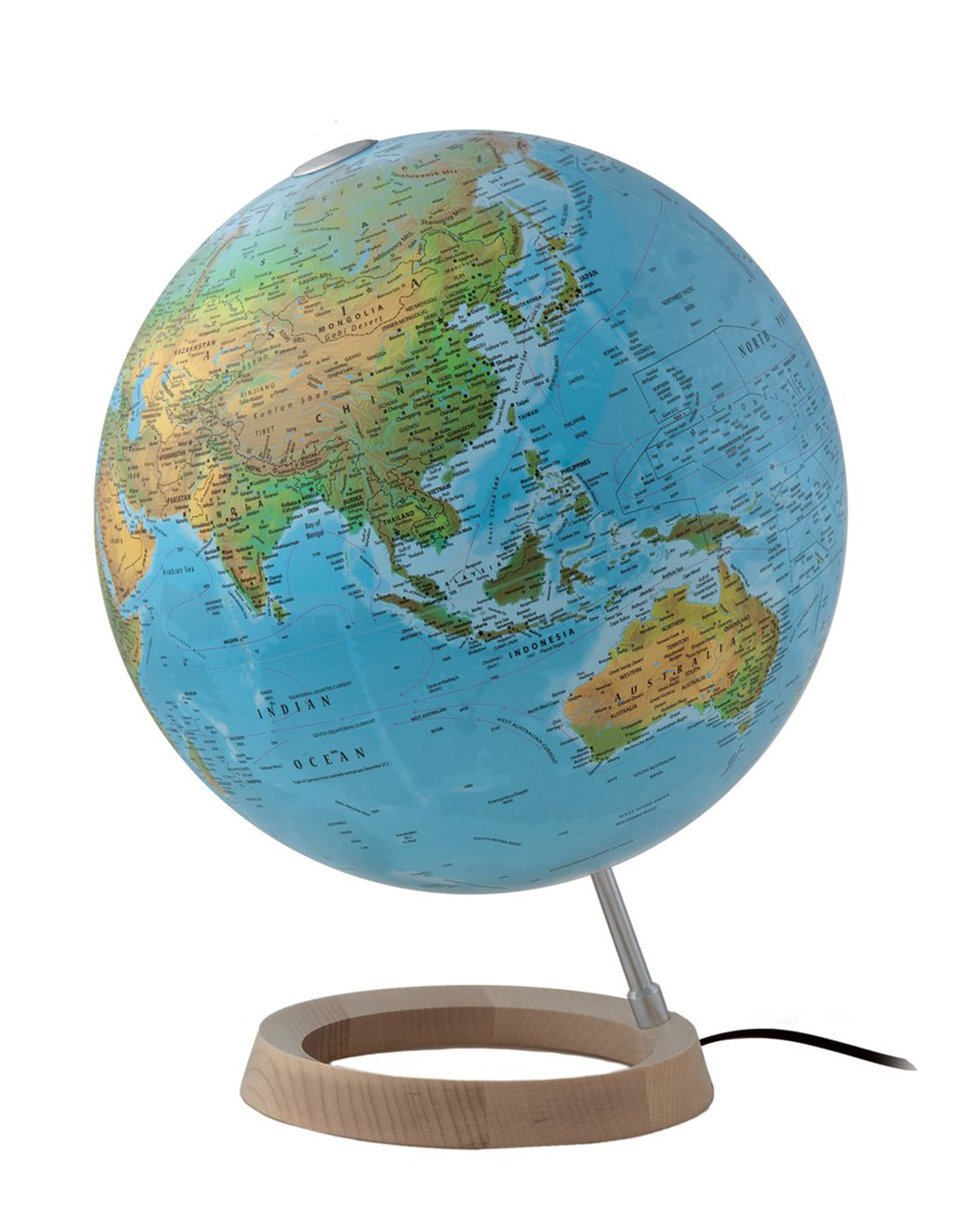 Full Map Of The World.Full Circle Fc2 Physical Atmosphere Illuminated 30cm Globe