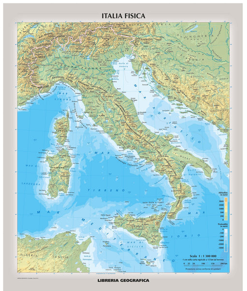 Italy Physical Wall Map in Italian 1067 x 910mm Wall Map