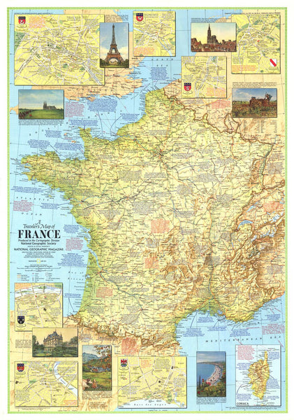 Travelers Map of France - Published 1971 by National Geographic