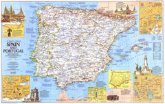 Traveler's Map of Spain - Published 1984 by National Geographic