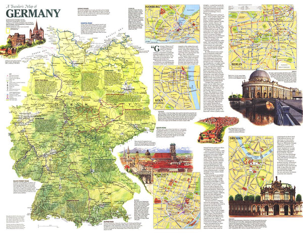 Traveler's Map of Germany - Published 1991 by National Geographic