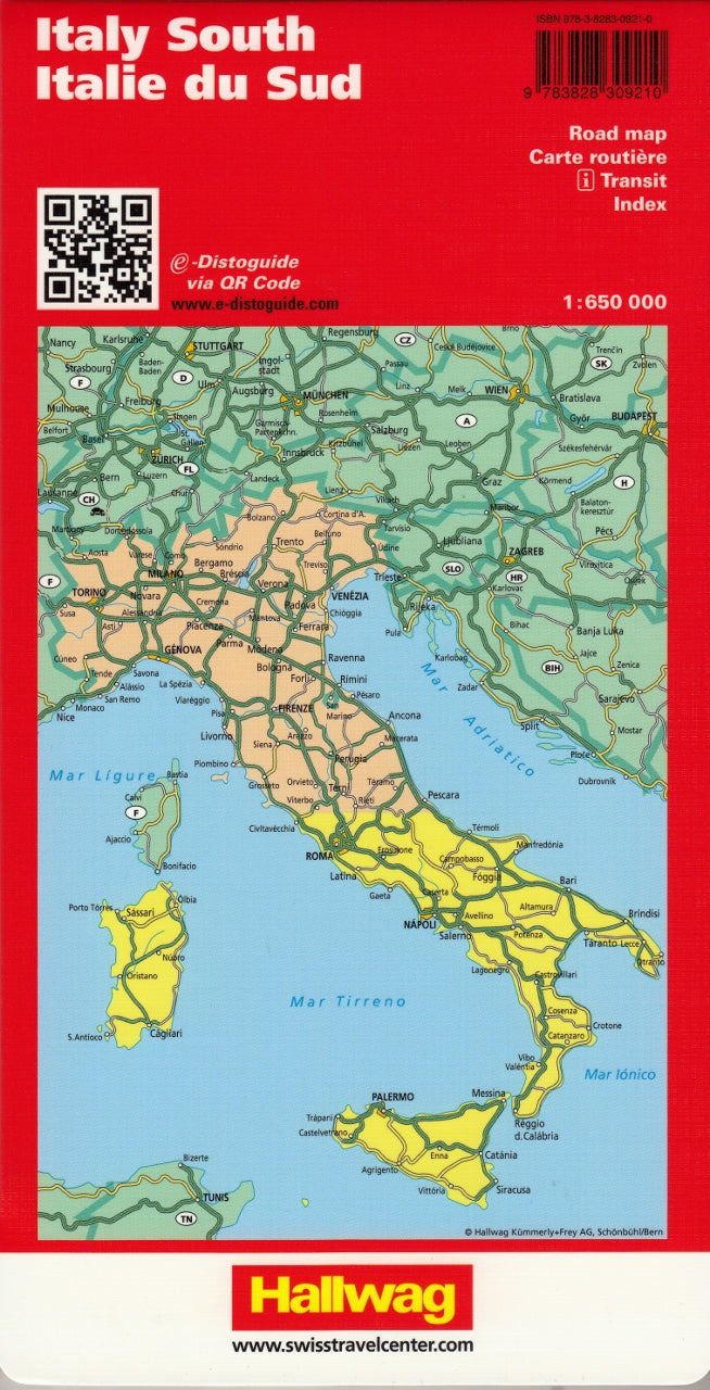 Map Of South Of Italy.Italy South Hallwag Map