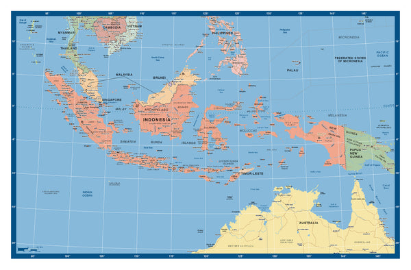 Indonesia Supermap 1400 x 900mm Laminated Wall Map