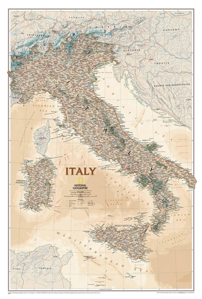 Italy Executive NGS 591 x 867mm Wall Map
