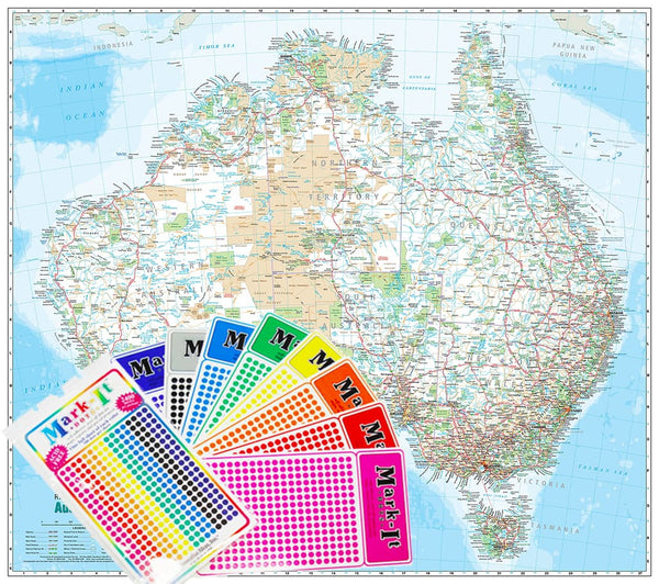 Australia Reference Megamap A 2400 x 2130mm Laminated Cartodraft with FREE Map Dots