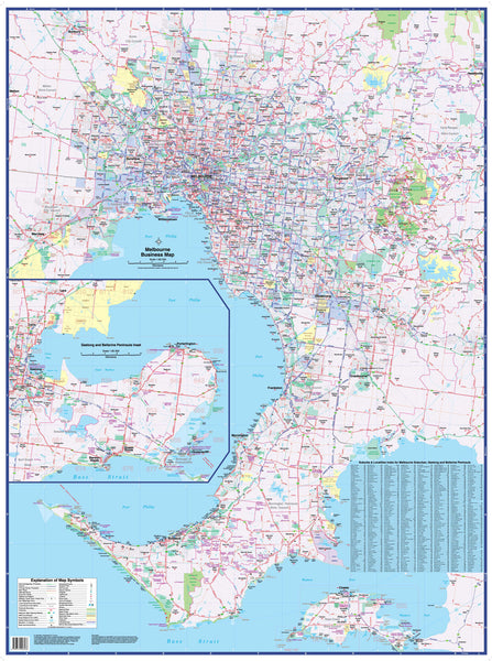 Melbourne Business Map UBD 1480 x 1980mm Laminated Wall Map with Hang Rails