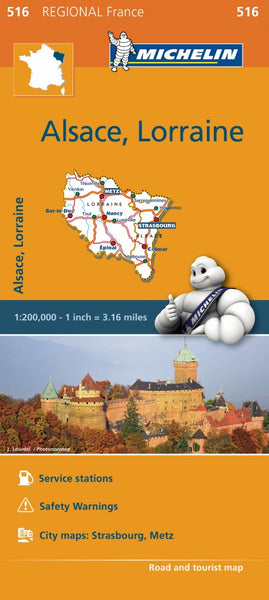 Alsace, Lorraine 516 France Michelin Map