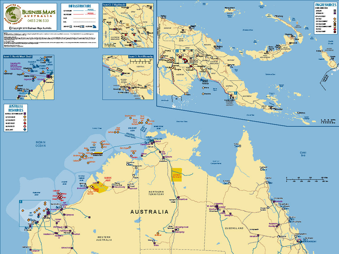 Map Northern Australia.Northern Australia Papua New Guinea Oil Gas 1100 X 820mm Bma Laminated Wall Map