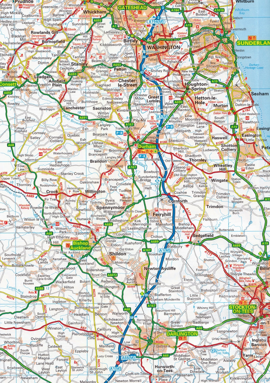 North Of England Map.North Of England And Scottish Borders Aa Road Map 8
