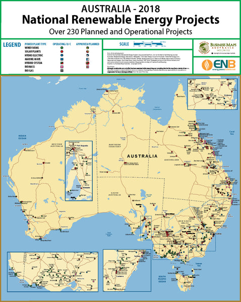 Australia Renewable Energy Projects 2018 BMA Laminated Wall Map