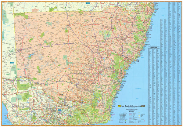 New South Wales State UBD Map 2000 x 1400mm Laminated Wall Map with Hang Rails