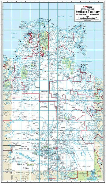Northern Territory Postcode Map 600 x 1036mm