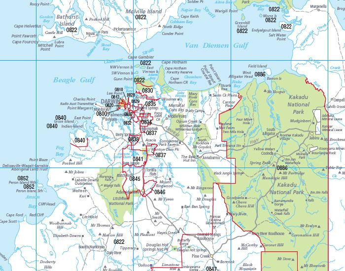 Map Northern Australia.Northern Territory Postcode Map 600 X 1036mm