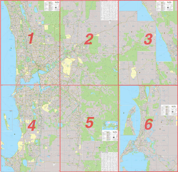 Perth 6 Sheet Map 2015 UBD 2075 x 2000mm Laminated