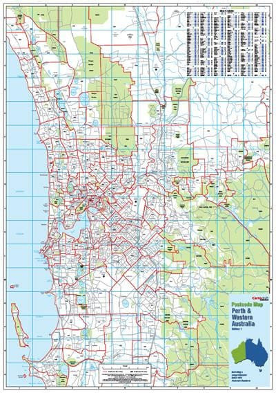 Map Of Australia Showing Perth.Perth Postcode Map 788 X 1120mm