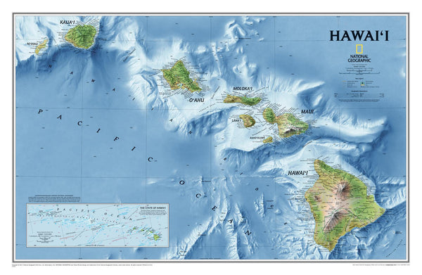 Hawaii NGS 883 x 575 mm Wall Map