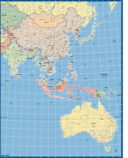 Asia West Pacific Supermap Laminated Wall Map