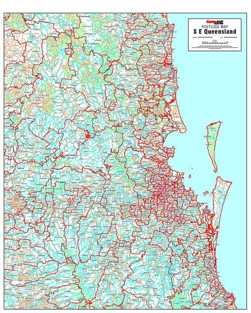 South East Queensland Postcode Map Buy Postcode Map of South East