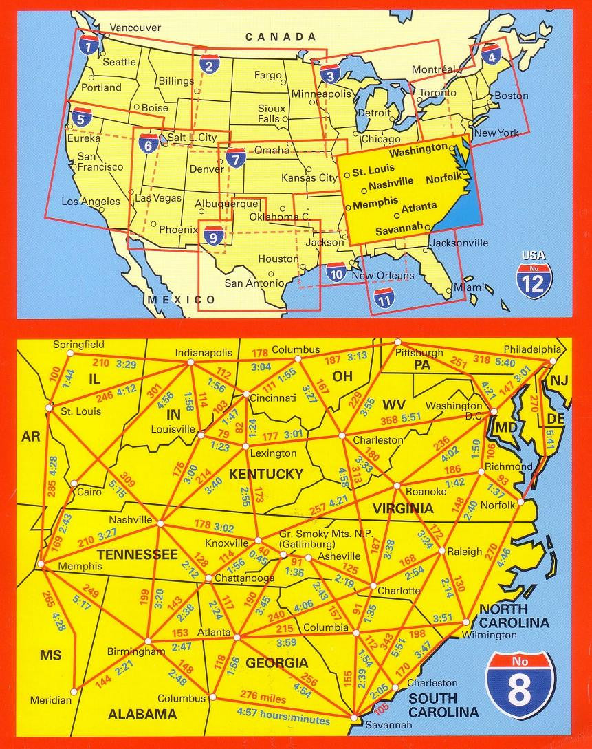 South East Usa Hallwag Buy Usa Map Mapworld