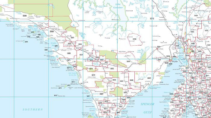 Map Of Adelaide Australia.South Australia Postcode Map 788 X 1036mm