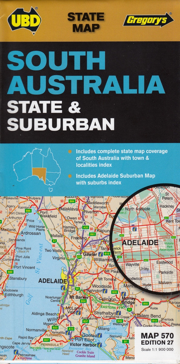South australia ubd 570 state map buy map of south australia mapworld south australia state suburban map ubd 570 gumiabroncs Images