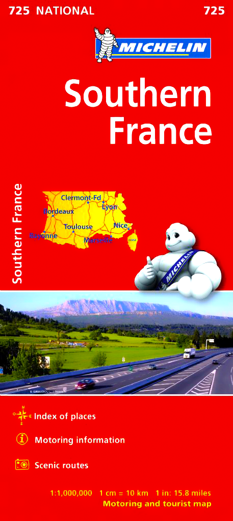 Clear Map Of France.Southern France Michelin Map 725