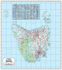 Tasmania Postcode Laminated Wall Map 788 x 935mm