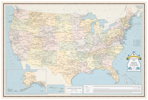United states and canada buy map of united states mapworld marvellous map of genuine american place names gumiabroncs Choice Image