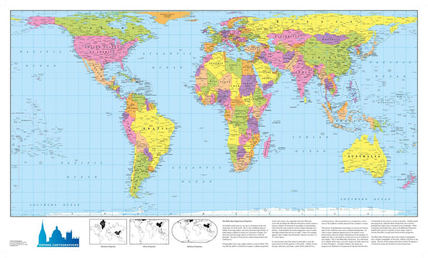 World Map Hobo Dyer Projection 840 x 497mm Laminated