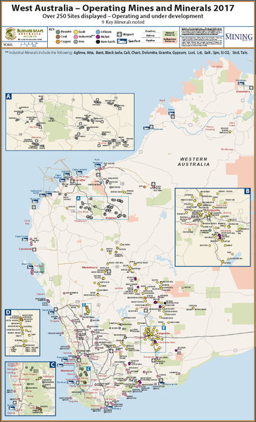 Australia Map 2017.Western Australia Operating Mines 1200 X 800mm Bma Laminated Wall Map