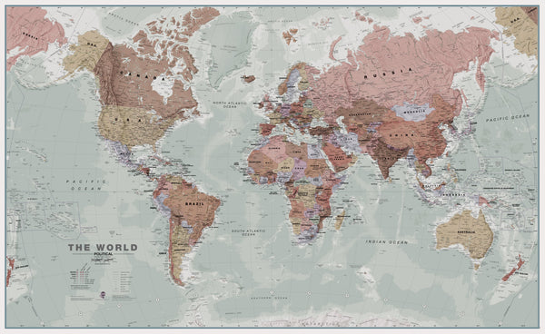 World Maps International 30 Million Executive Antique Style 1360 x 840mm Wall Map