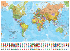 World Maps International with Flags 1:30 million 1360 x 1000mm Laminated with Hang Rails