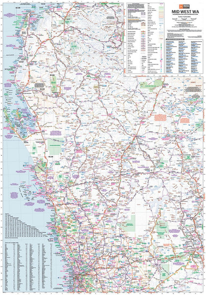 Mid West Western Australia Hema 700 x 1000mm Laminated Wall Map