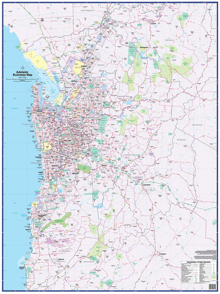 Adelaide Business Map UBD 1480 x 1980mm Laminated Wall Map with Hang Rails