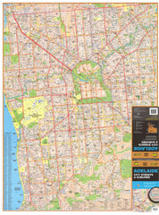 Adelaide UBD Map 1020 x 1480mm Laminated Wall Map with Hang Rails