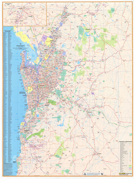 Adelaide UBD Map 1380 x 2000mm Laminated Wall Map with Hang Rails