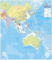 Asia West Pacific Hema 1000 x 875mm Laminated Wall Map with Hang Rails