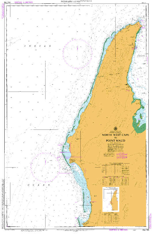 Map Of North West Australia.Aus 745 North West Cape To Point Maud Nautical Chart