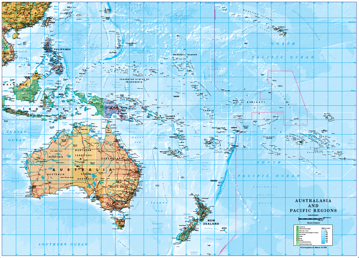 New Zealand Australia Map.South Pacific Islands Australia New Zealand Laminated Map