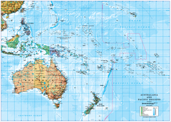 South Pacific Islands, Australia & New Zealand Laminated Map
