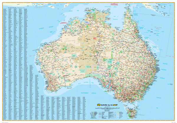 Australia 180 UBD Large 1000 x 690mm Laminated Wall Map with Hang Rails