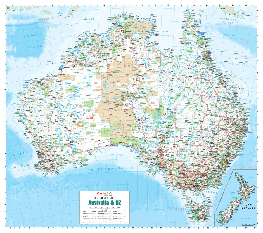 New Zealand Map Australia.Australia New Zealand Reference 1000 X 887mm Laminated Wall Map With Hang Rails
